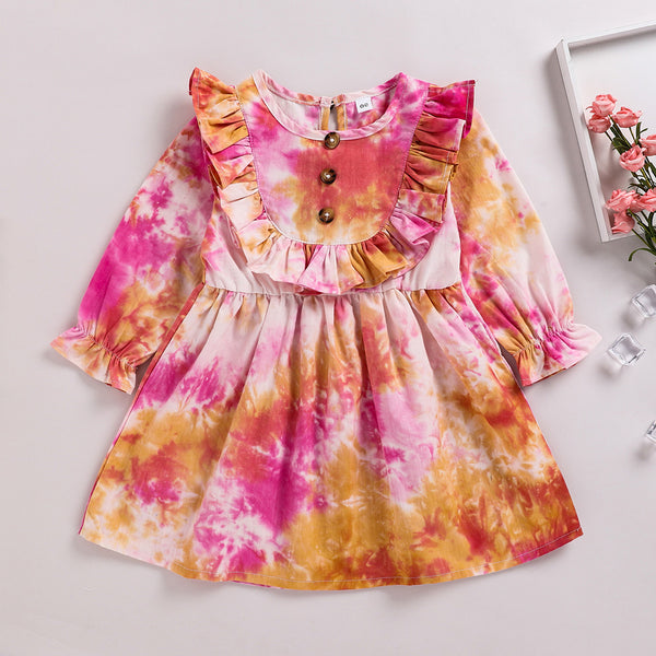 Girls Long Sleeve Autumn Tie Dye Wholesale Girls Dresses