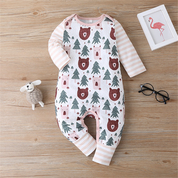 Baby Long Sleeve Bear Tree Cartoon Printed Striped Romper Wholesale Baby Clothes In Bulk