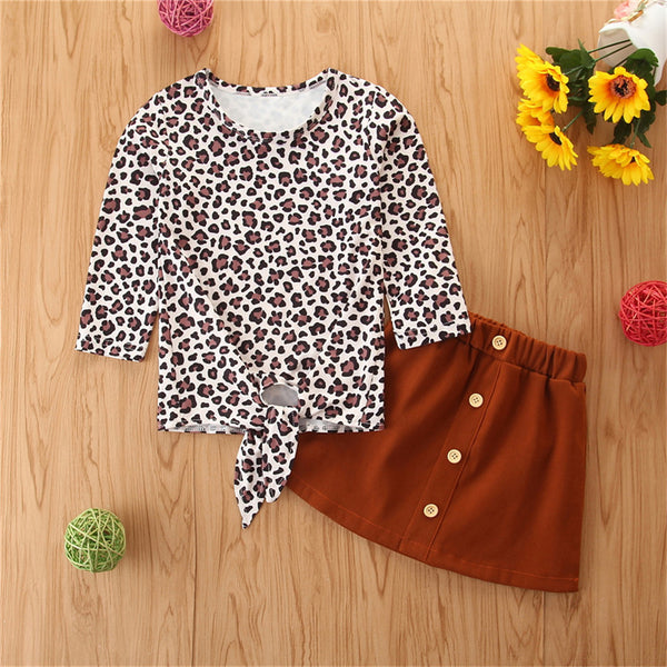 Girls Long Sleeve Bow Leopard Top & Skirt Girls Clothing Wholesale