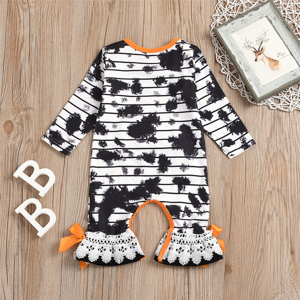 Baby Girl Long Sleeve Tie Dye Halloween Romper Baby Boutique Wholesale