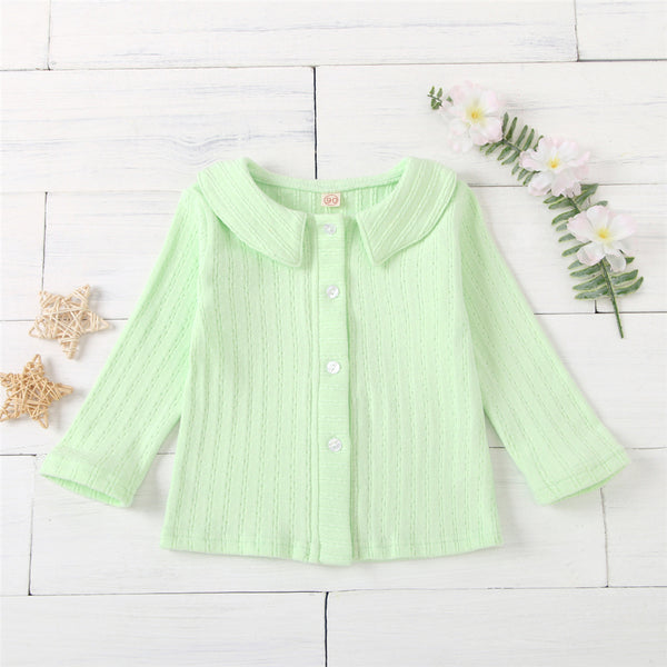 Girls Long Sleeve Button Cardigan Tops Wholesale Girls Clothes