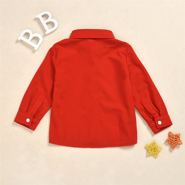 Boys Long Sleeve Button Lapel Shirt Baby Boy Boutique Wholesale