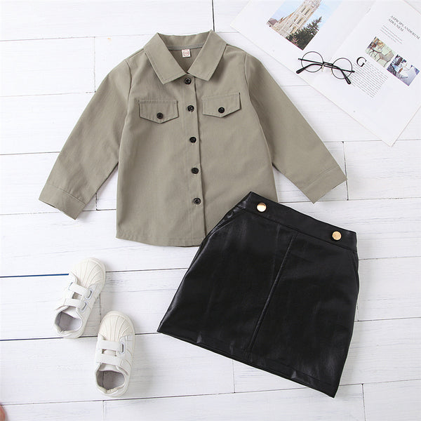 Girls Long Sleeve Button Lapel Solid Blouse & PU Skirt Baby Girl Wholesale