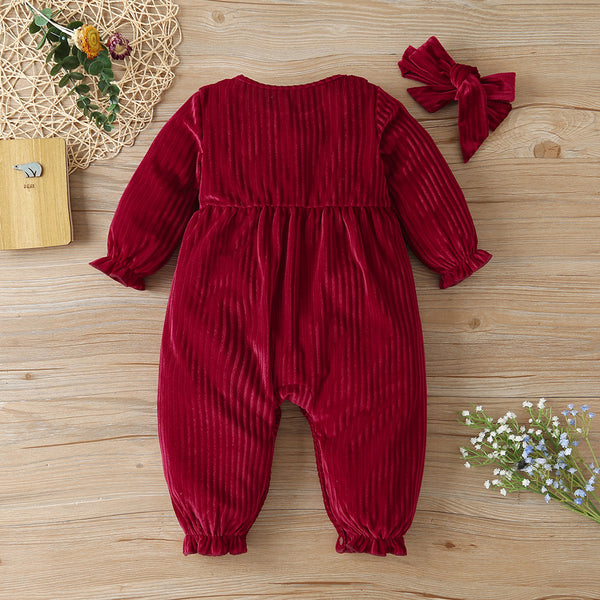 Baby Girls Long Sleeve Button Solid Color Romper Baby Clothes Wholesale Bulk