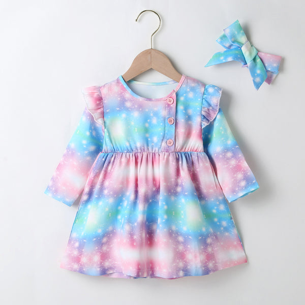 Baby Girl Long Sleeve Button Tie Dye Dress Baby Clothes Wholesale Bulk