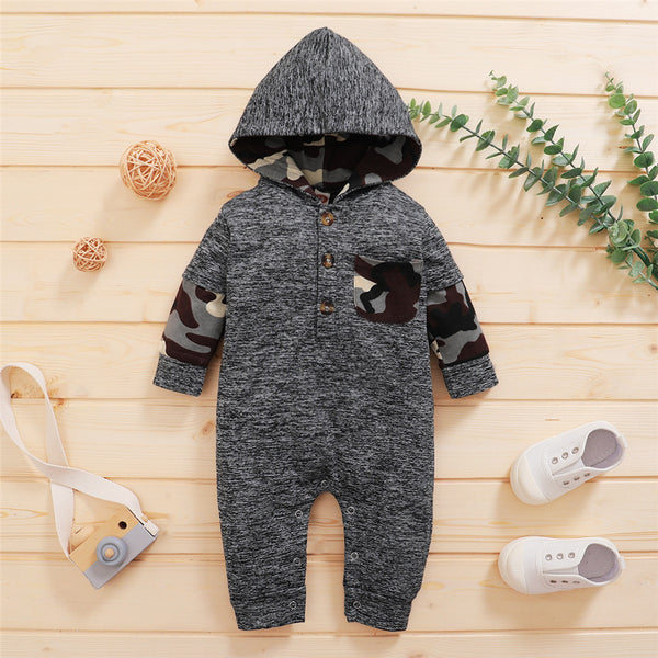 Baby Boys Long Sleeve Camo Hooded Romper Boutique Baby Clothes Wholesale