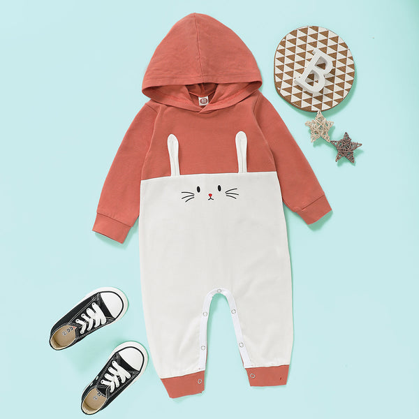 Baby Unisex Long Sleeve Cartoon Cute Hooded Romper Baby Wholesale Clothes