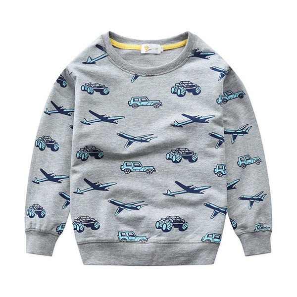 Boys Long Sleeve Cartoon Printed Tops