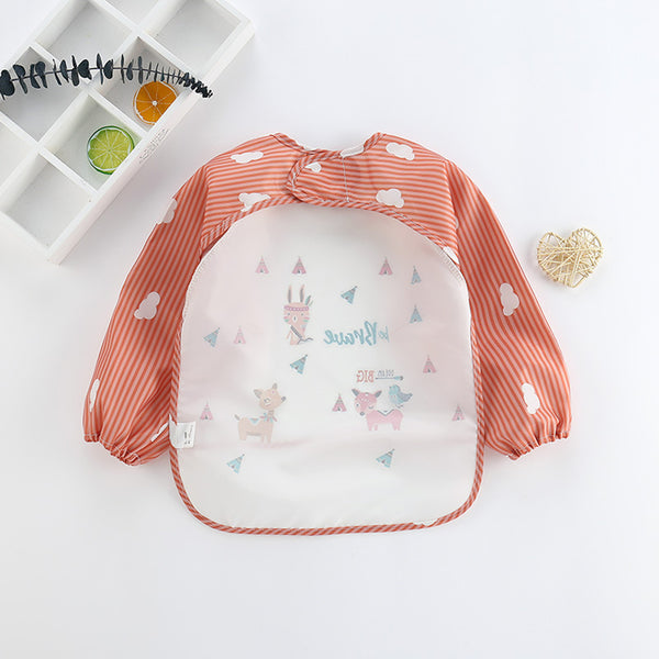 Baby Long Sleeve Cartoon Printed Waterproof Bibs Baby Accessories Wholesale