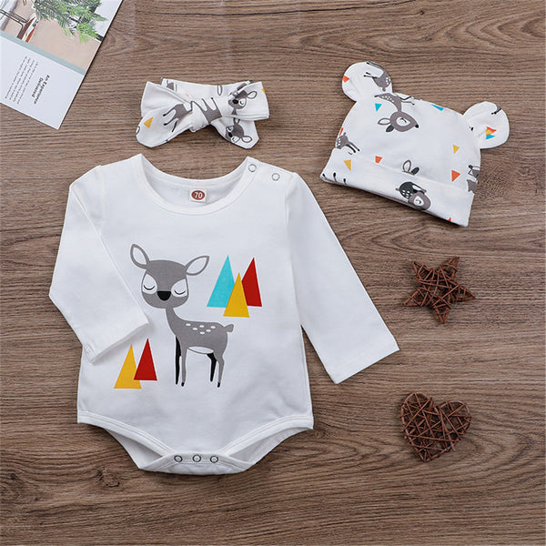 Baby Girls Long Sleeve Cartoon Romper & Hat & Headband Babywear Wholesale