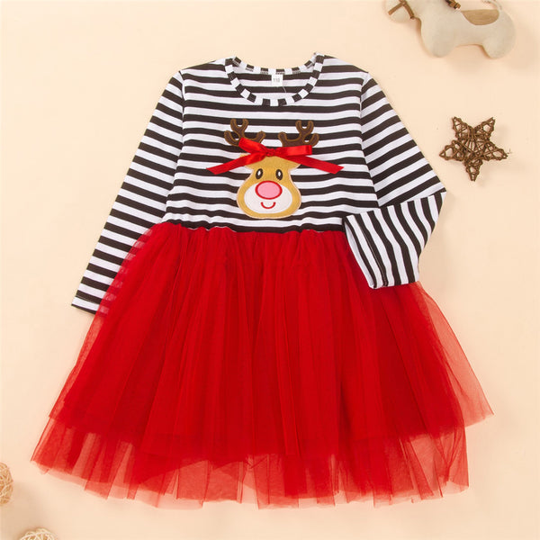 Girls Long Sleeve Cartoon Striped Mesh Dress Girls Boutique Wholesale