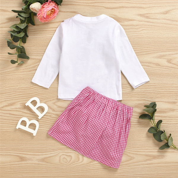 Girls Long Sleeve Casual Bow Top & Plaid Skirt Wholesale Little Girls Clothes