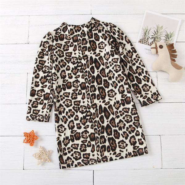 Girls Long Sleeve Casual Leopard Dress Kids Wholesale Clothing