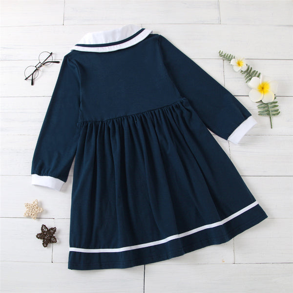 Girls Long Sleeve Casual Princess Pleated Dress Girls Wholesale Clothing