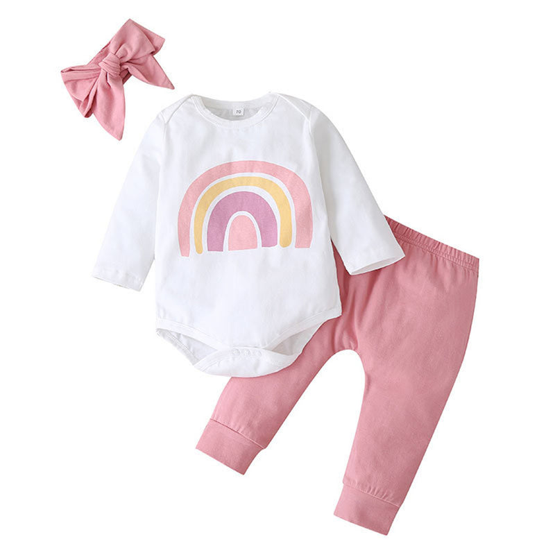 Baby Girls Long Sleeve Casual Romper & Pants & Headband