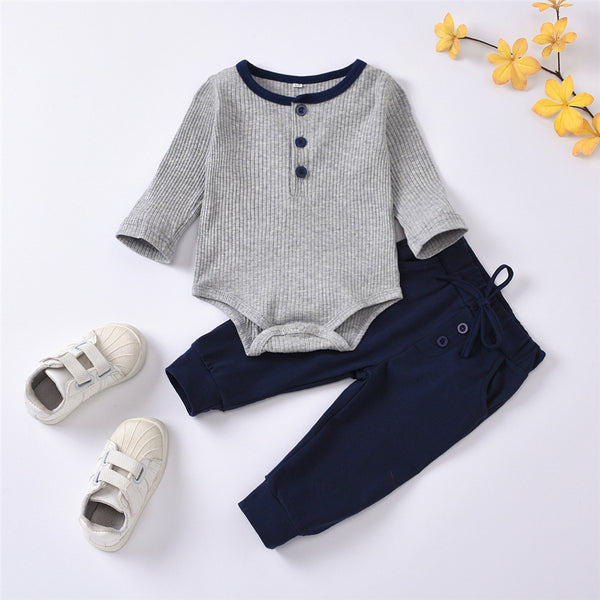 Baby Boys Long Sleeve Casual Solid Romper & Pants Wholesale Clothing Baby