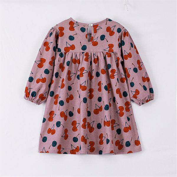 Girls Long Sleeve Cherry Printed Crew Neck Dress Children's Wholesale Boutique Clothing
