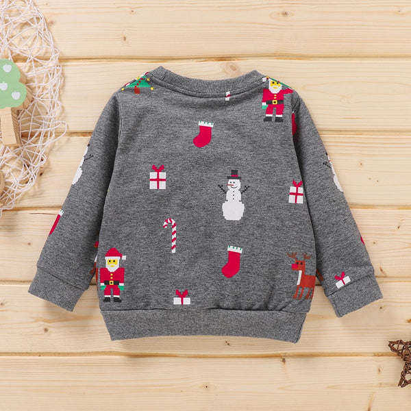 Long Sleeve  Christmas Tree&Elk Shirt Wholesale Boys Clothes