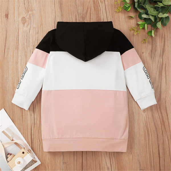 Girls Long Sleeve Color Block Hooded T-shirt Girls Clothes Wholesale