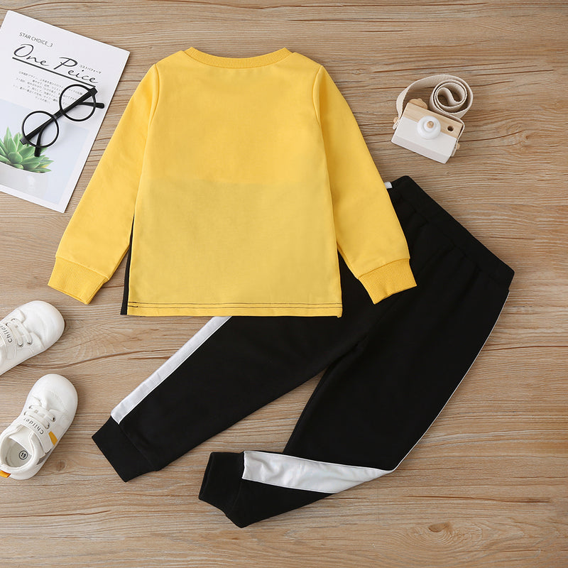 Unisex Long Sleeve Color Block Pullover Top & Pants Kids Wholesale Clothing