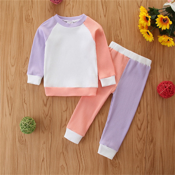 Baby Girls Long Sleeve Color Block Top & Trousers Baby Clothes Cheap Wholesale