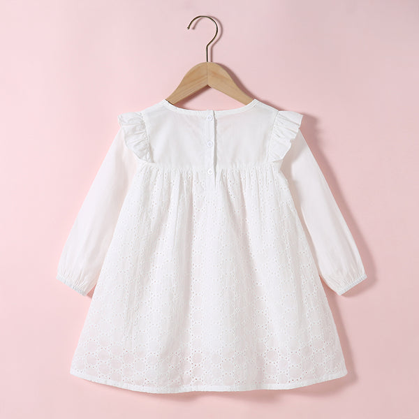 Girls Long Sleeve Cotton Bow Decor Solid Color Blouse Kids Wholesale Clothing Warehouse