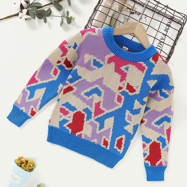 Boys Long Sleeve Crew Neck Geometric Pattern Sweaters Boy Clothing Wholesale
