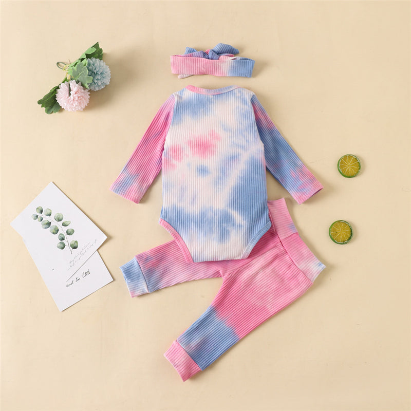 Baby Long Sleeve Crew Neck Tie Dye Romper & Pants & Headband
