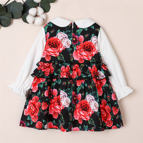 Girls Long Sleeve Doll Collar Floral Printed Dress Kids Wear Wholesale