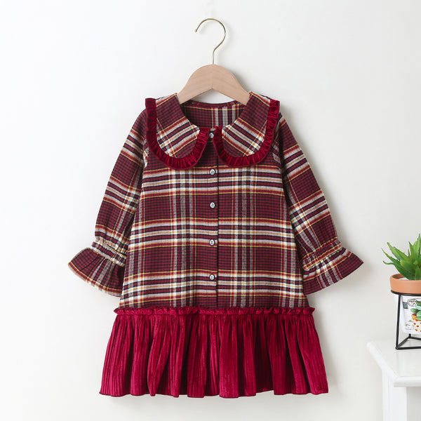 Girls Long Sleeve Doll Collar Plaid Splicing Dress Wholesale Little Girl Dresses