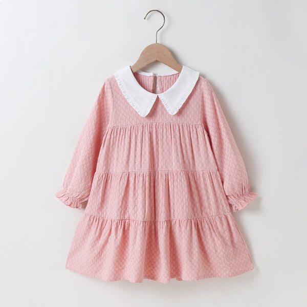 Girls Long Sleeve Doll Collar Pleated Dress Girls Wholesale Dresses