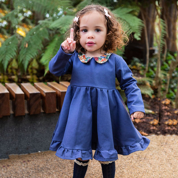 Girls Long Sleeve Floral Printed Collar Ruffle Dress Girls Dress Wholesale