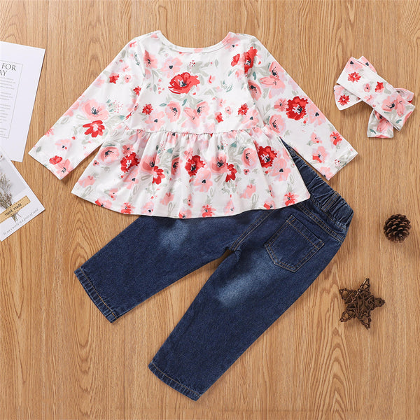 Girls Long Sleeve Flower Printed Top & Ripped Jeans & Headband Wholesale Little Girls Clothes