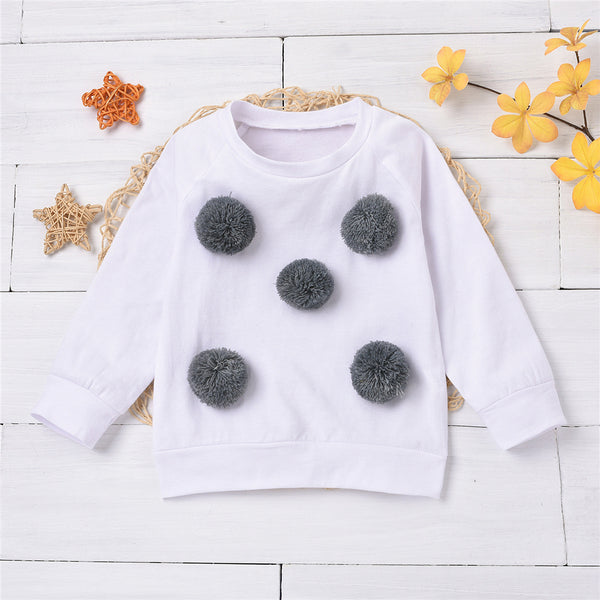 Girls Long Sleeve Furry Ball Crew Neck T-shirt Wholesale Boutique Girl Clothing