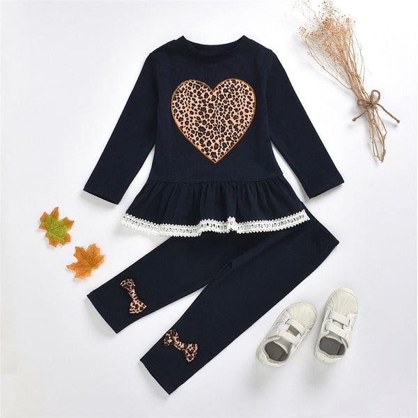 Girls Long Sleeve Heart Leopard Top & Pants Girl Boutique Clothing Wholesale