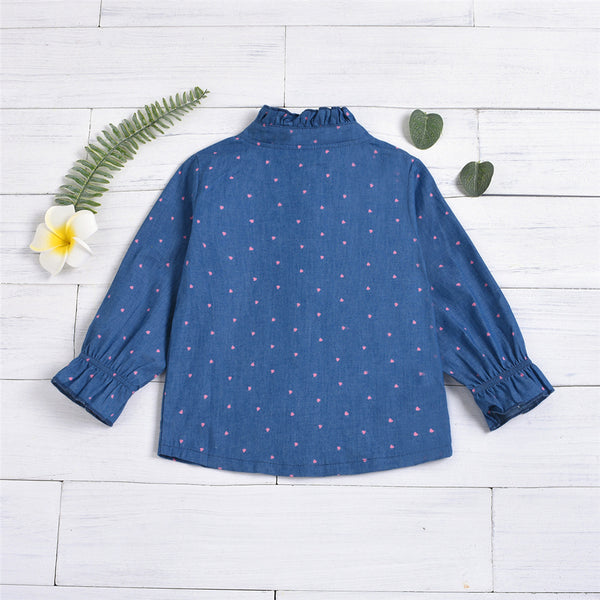 Girls Long Sleeve Heart Printed Button Blouses Wholesale Children