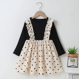 Girls Long Sleeve Heart Splicing Sweet Dress Kids Apparel Wholesalers