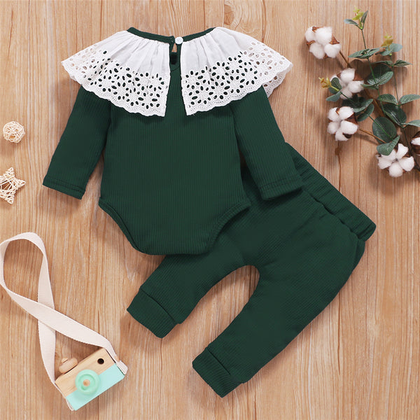 Baby Girls Long Sleeve Hollow-out Collar Romper & Pants Cheap Baby Clothes In Bulk