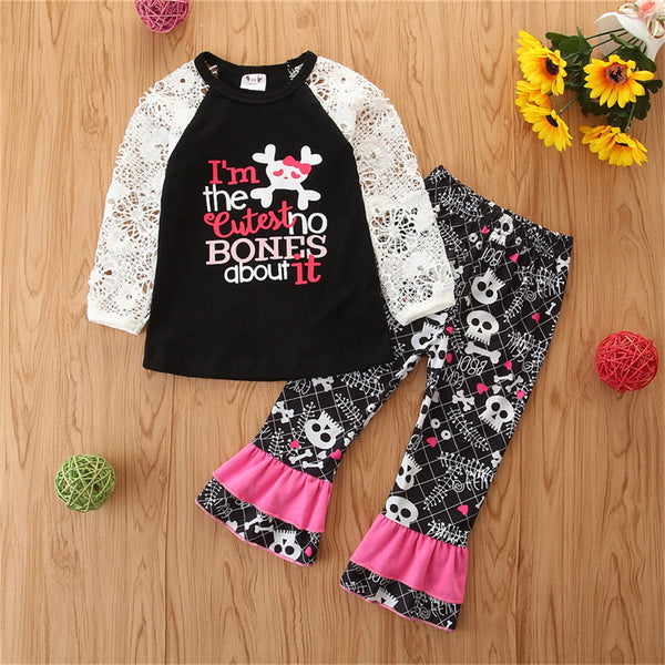 Girls Long Sleeve Hollow Out Letter Printed Top & Bell Pants Wholesale
