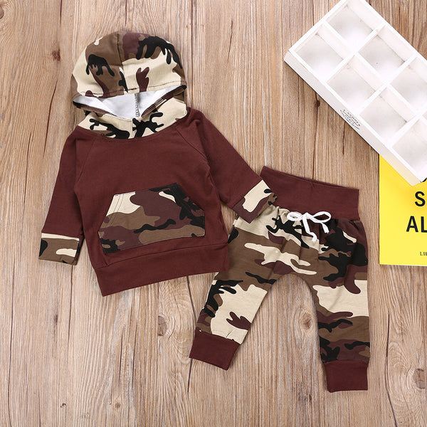 Baby Boys Long Sleeve Hooded Camo Sets Wholesale Baby Clothes