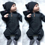 Baby Boys Long Sleeve Hooded Solid Rompers