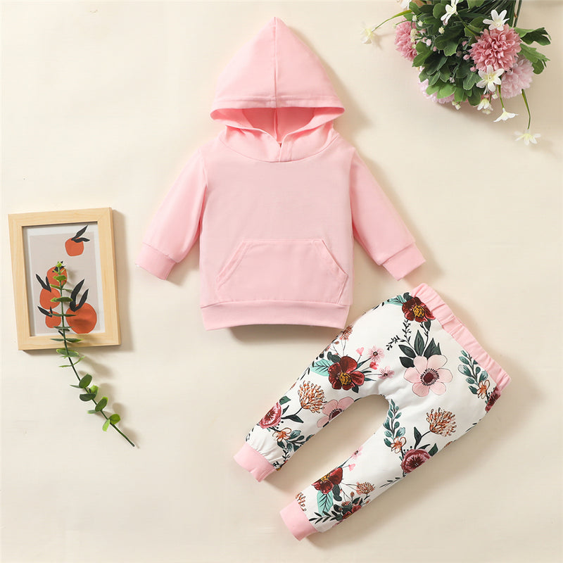 Baby Girls Long Sleeve Hooded Solid Top & Floral Pants Baby Clothes Wholesale Supplier