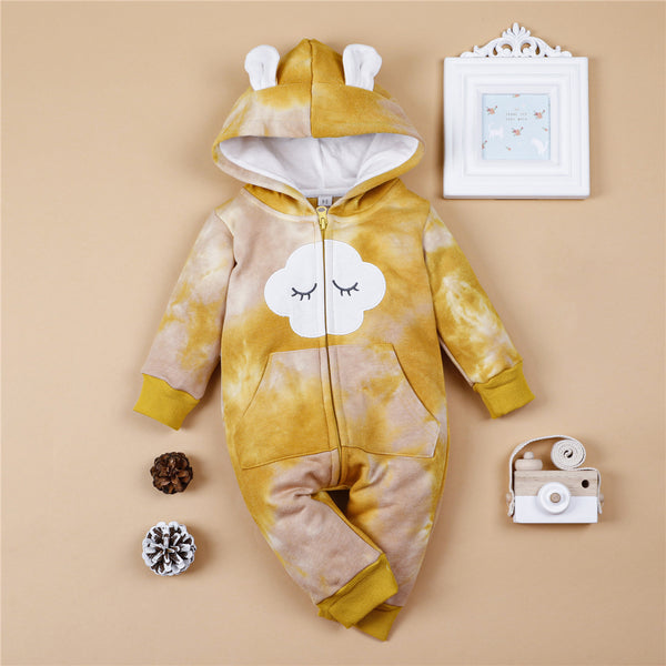 Baby Unisex Long Sleeve Hooded Tie Dye Cute Romper Baby Wholesale