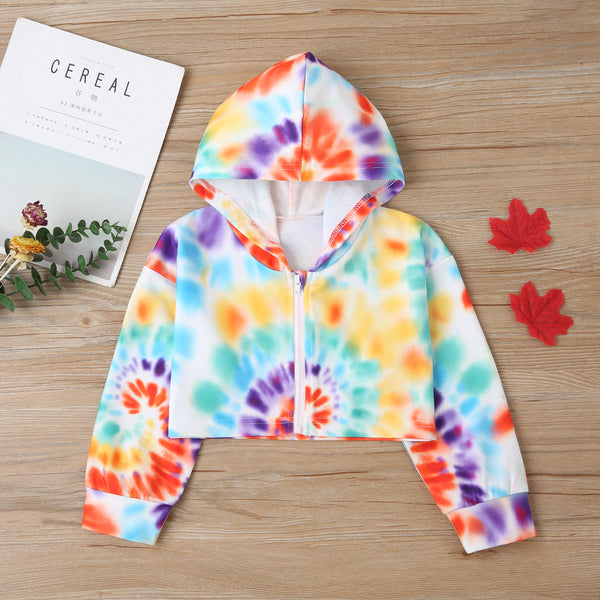 Girls Long Sleeve Hoodie Tie Dye Zipper Jacket Wholesale Little Girls Clothes