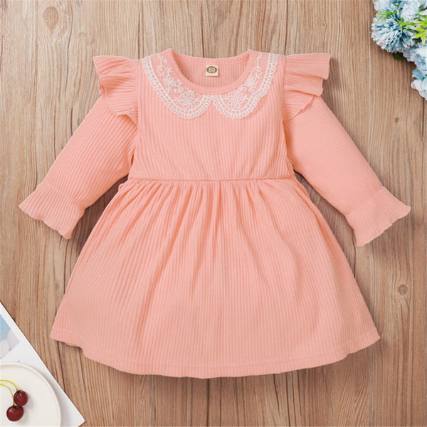 Baby Girls Long Sleeve Lace Collar Dress Cheap Baby Clothes In Bulk