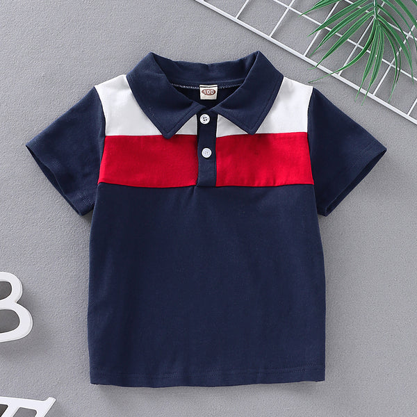 Boys Long Sleeve Lapel Color Color Block Top Wholesale Clothing For Children