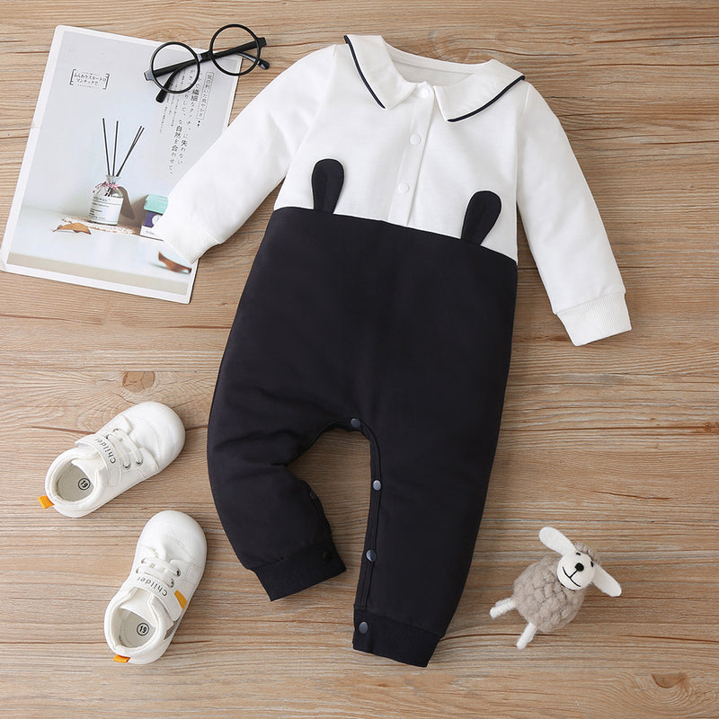 Baby Long Sleeve Lapel Color Contrast Romper Buying Baby Clothes In Bulk