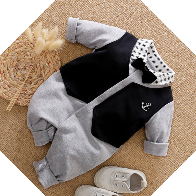 Baby Boys Long Sleeve Lapel Rompers