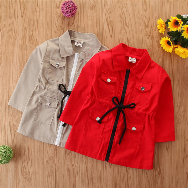 Gilrs Long Sleeve Lapel Zipper Coats Wholesale Kids Clothing Suppliers