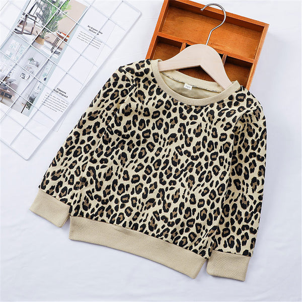 Girls Long Sleeve Leopard Casual Tees Girl T Shirts Wholesale